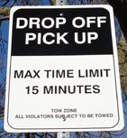 Drop Off Limit sign