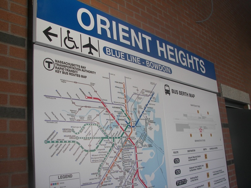 Orient Heights Station sign and transit map