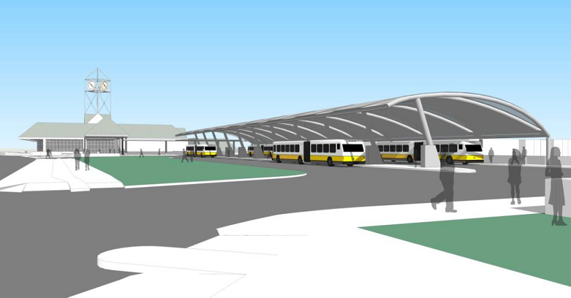 ground level simulation of the new bus canopy at Forest Hills