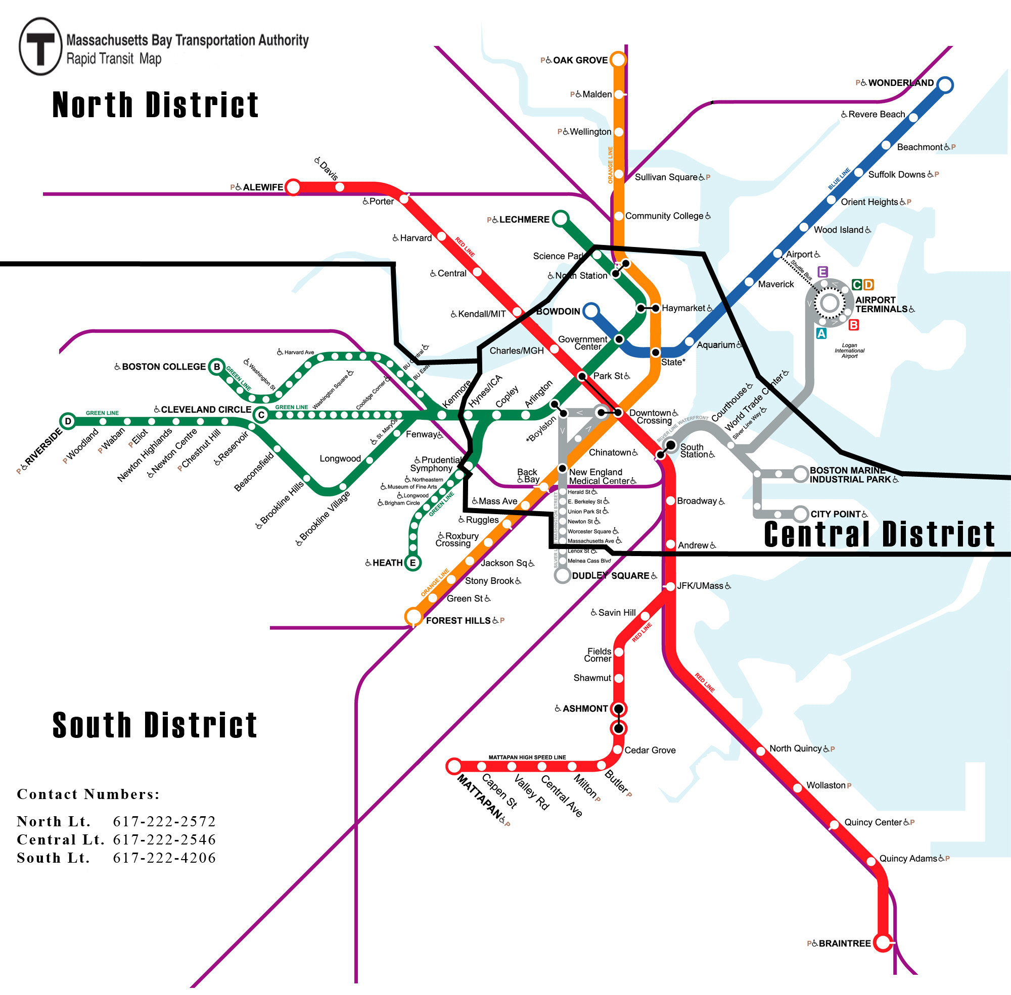 Subway System Map with North, Central, and South District borders