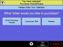 Screen shot of Purchase CharlieTicket menu. Click to enlarge.