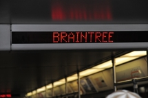 Display screen displaying the train's next stop. Click to enlarge.