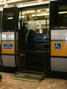 Lift deployed on a high-floor bus.