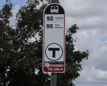 MBTA bus stop sign.