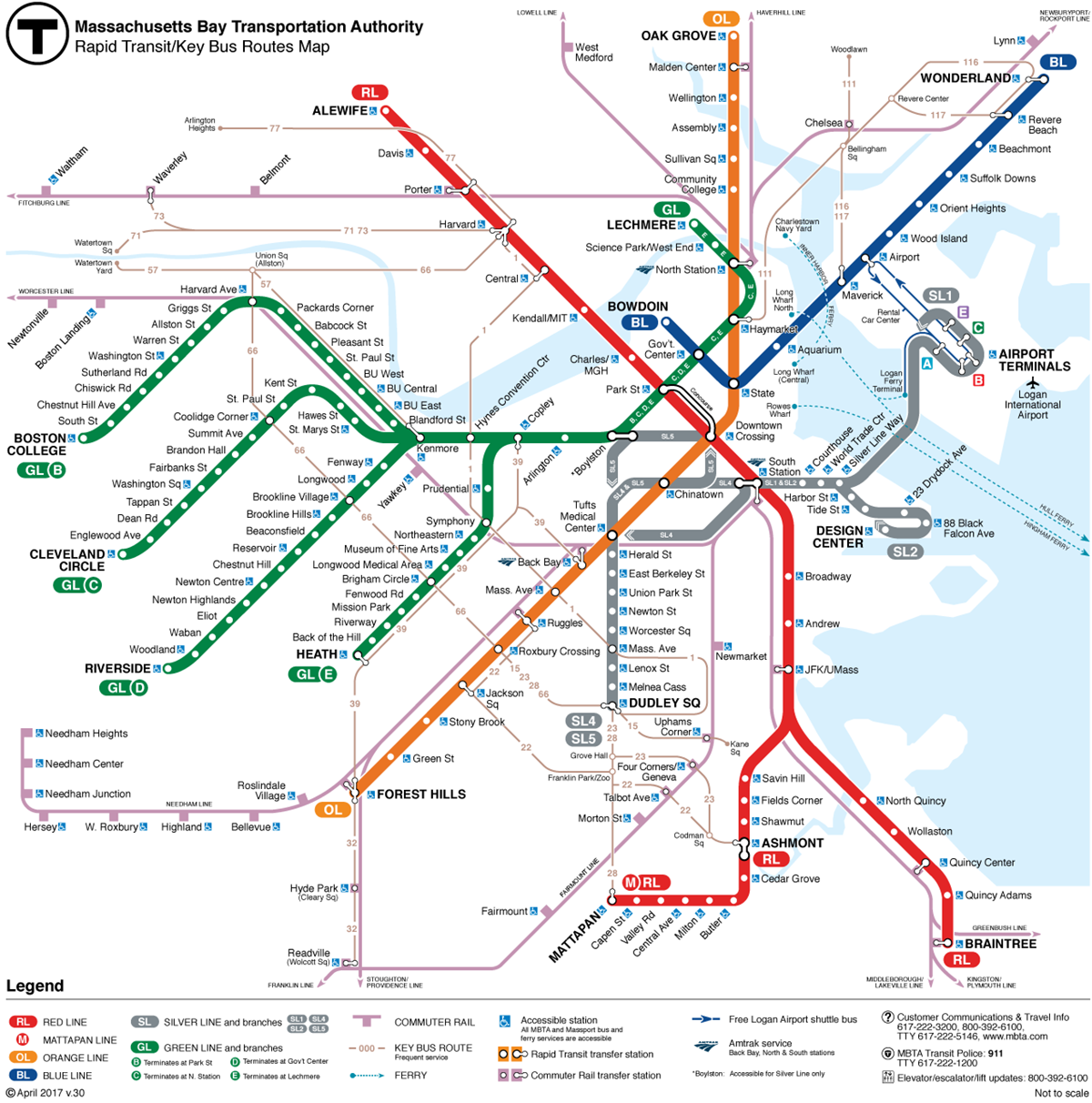 Boston T Line Map